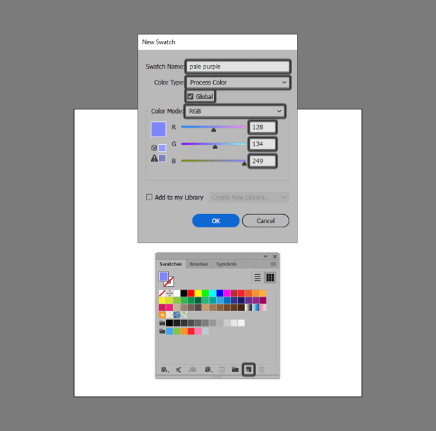 example of creating a swatch using the new swatch button