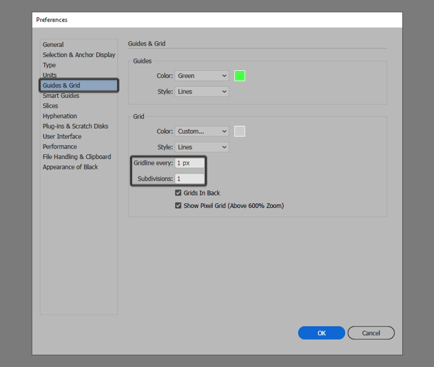 example of setting up a custom grid in illustrator