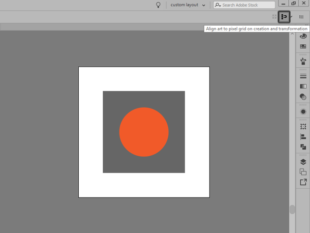 example of enabling the snap to pixel option in illustrator