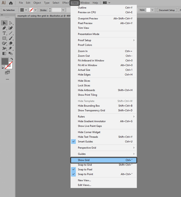 example of enabling the grid in illustrator