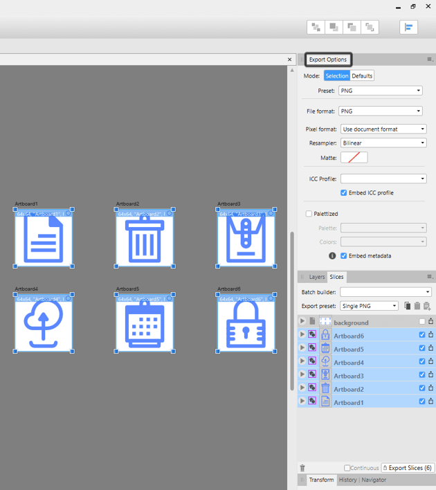 example of using the export options panel in affinity designer