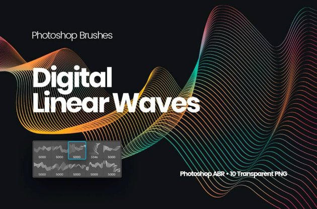 digital linear waves brush set