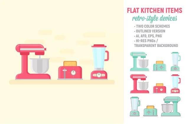 Flat Retro Kitchen Items