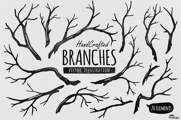 Hand Crafted Tree Branches Vector