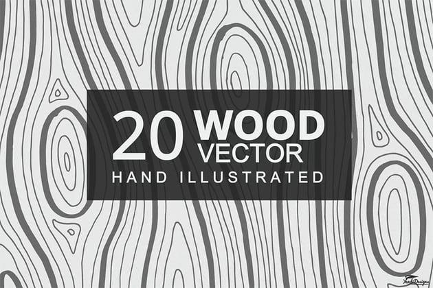 20 Hand Illustrated Wood Texture Vectors