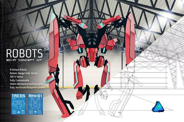 Robots Sci Fi Concept Kit