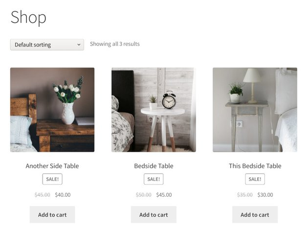 product catalogue on woocommerce shop page
