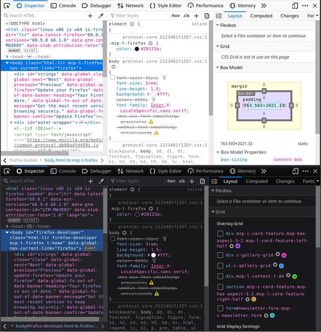 Regular Firefox Dev Tools above Developer themed Dev Tools below