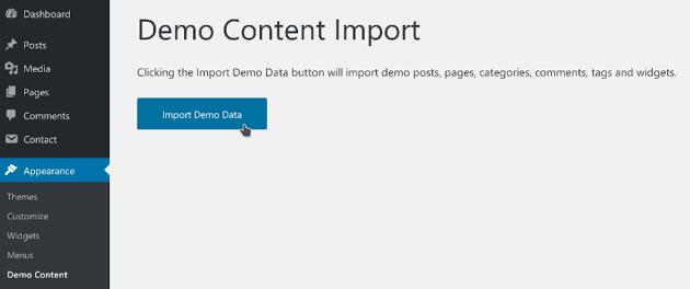 Demo content import