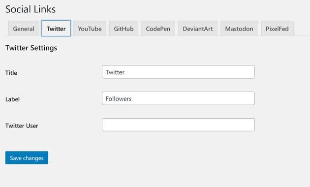 Social links settings tabs one per selected social media site