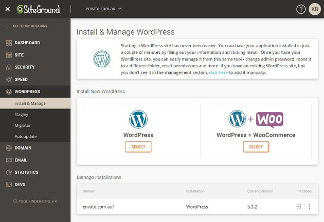 WordPress hosting dashboard from SiteGround