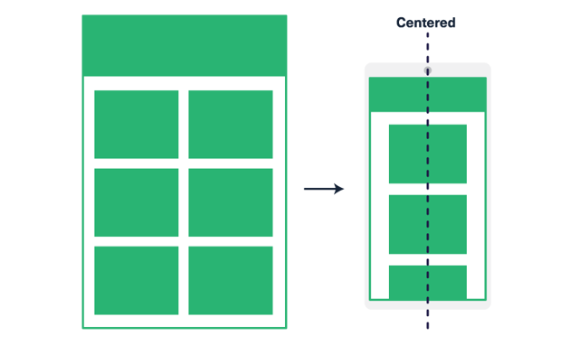 We are going to create a two-column layout on desktop that stacks to a single, centered column on mobile