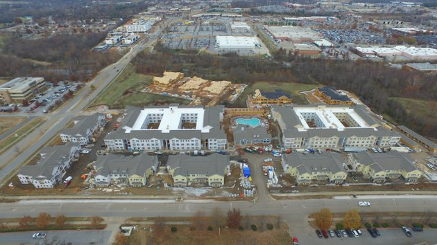 Aerial photograph of a residential construction site