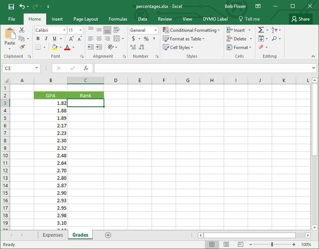 Percent ranking - second worksheet