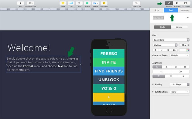 Customize Text in Apple Keynote