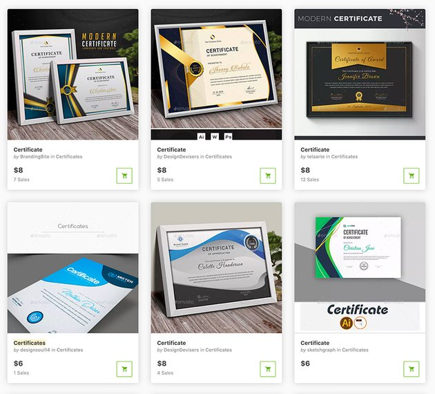 Best Certificate Templates on GraphicRiver