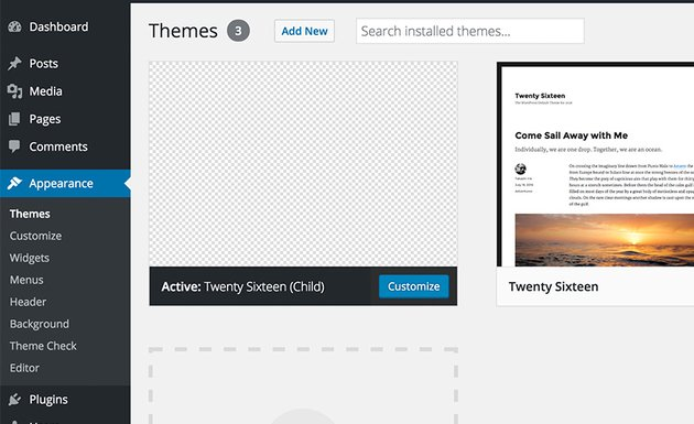 WordPress List of Theme Interface in the Dashboard
