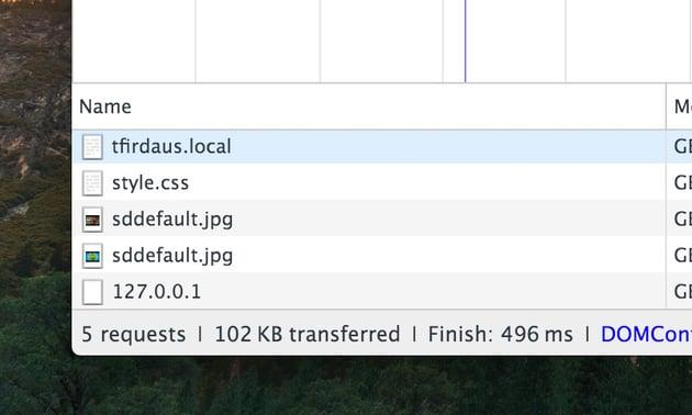 Chrome HTTP request report in DevTools