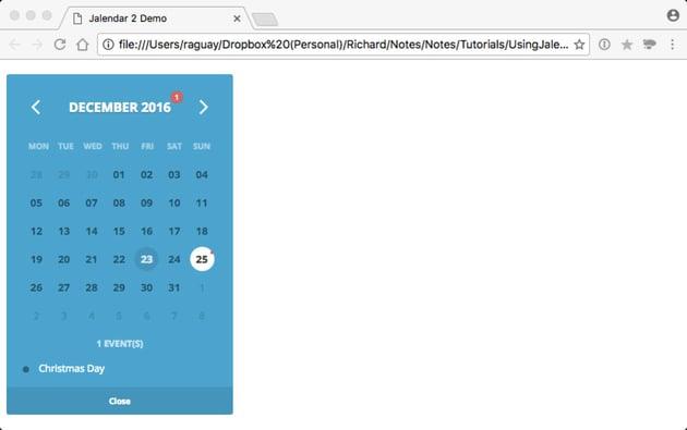 An Event Added to the Basic Calendar