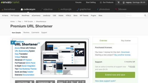 Premium URL Shortener on CodeCanyon