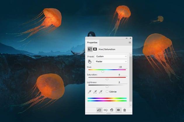 jellyfish light 2 hue saturation