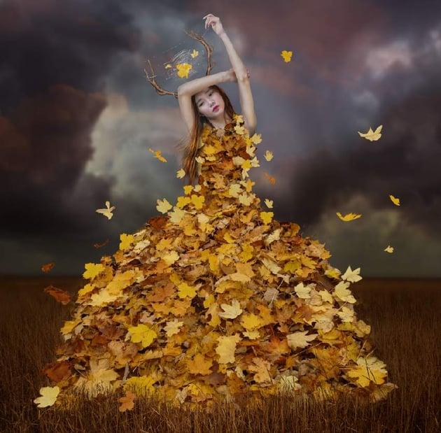 add flying leaves