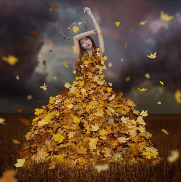 add blurred flying leaves