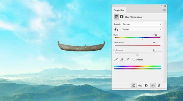boat photomanipulation - boat hue saturation