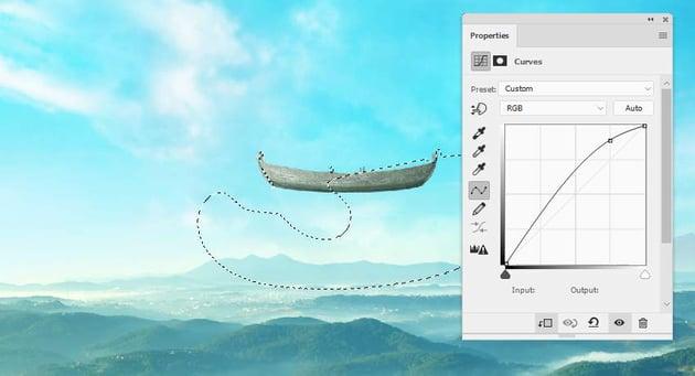boat photomanipulation -  boat curves