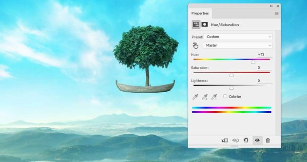 boat photomanipulation - tree hue saturation