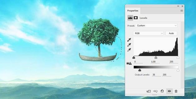 boat photomanipulation - tree levels