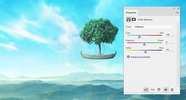 boat photomanipulation - trunk color balance
