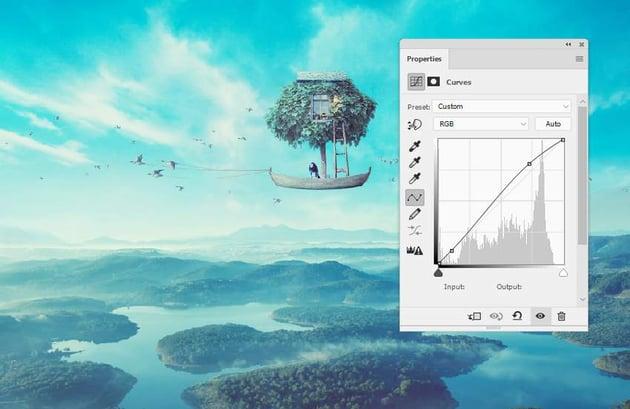 boat photomanipulation - whole scene curves