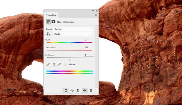 Photoshop Adjustment Layers - arch texture hue saturation