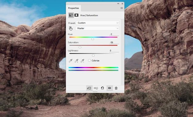 Photoshop Adjustment Layers - ground hue saturation