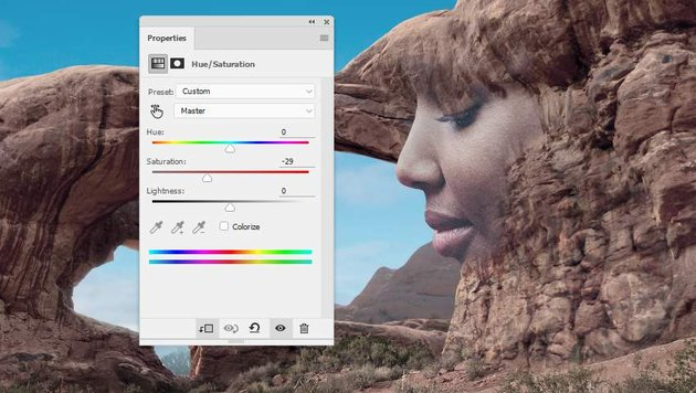 Photoshop Adjustment Layers - face hue saturation