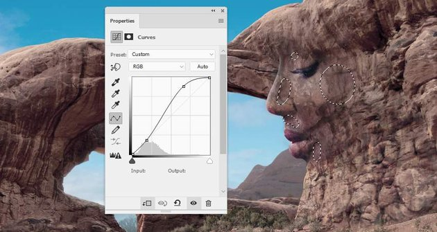 Photoshop Adjustment Layers - face texture curves