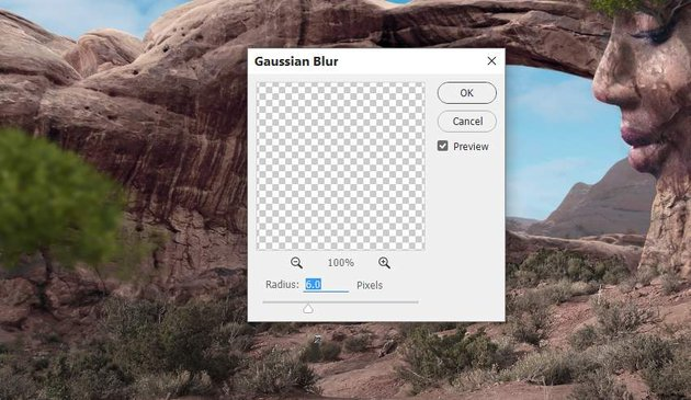 Photoshop Adjustment Layers - tree gaussian blur