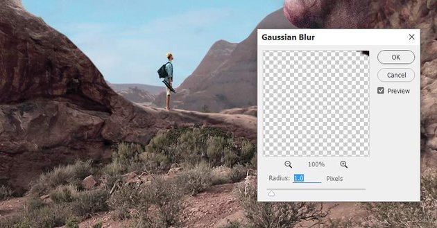 Photoshop Adjustment Layers - man shadow gaussian blur