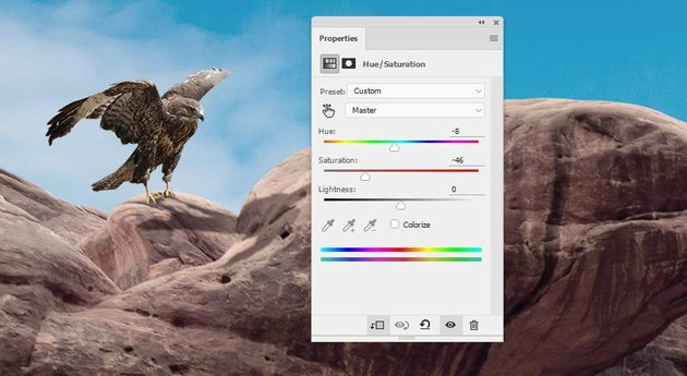 Photoshop Adjustment Layers - hawk 1 hue sauration