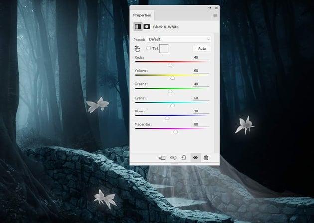 fantasy digital art - fish black and whiite