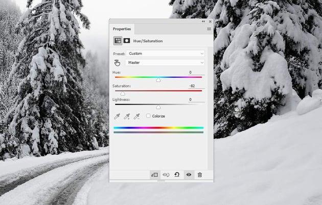 photo manipulation - winter hue saturation