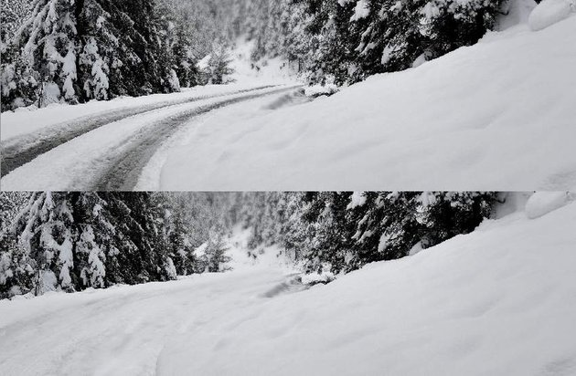 photo manipulation - winter road cloning