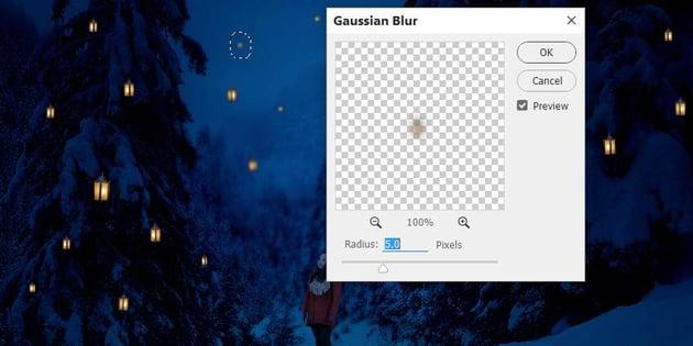 photo manipulation - lanterns gaussian blur 2