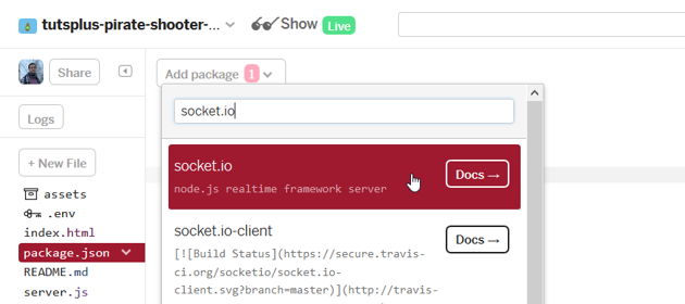 The add package menu can be found at the top of the code editor when selecting the file packagejson