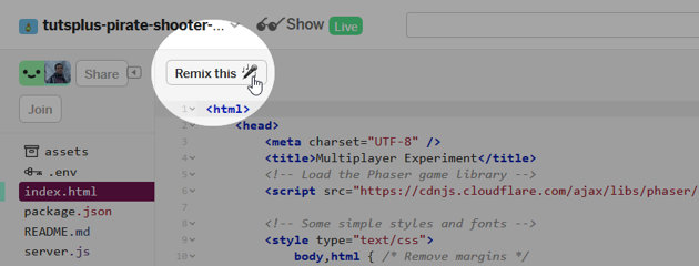 The remix button is at the top of the code editor