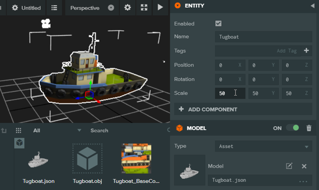 You can scale the model up using the properties panel on the right once its selected