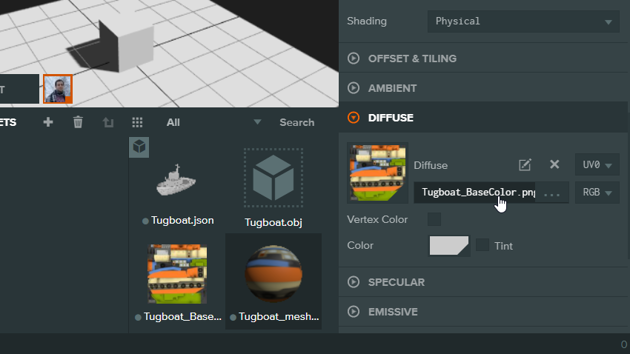 Click on the diffuse tab and select the boat image