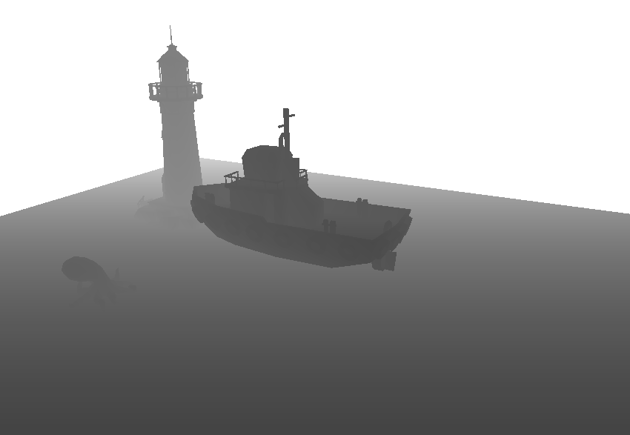Boat and lighthouse scene rendered as a depth map
