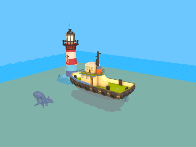 The scene now includes an octopus and a ligthouse